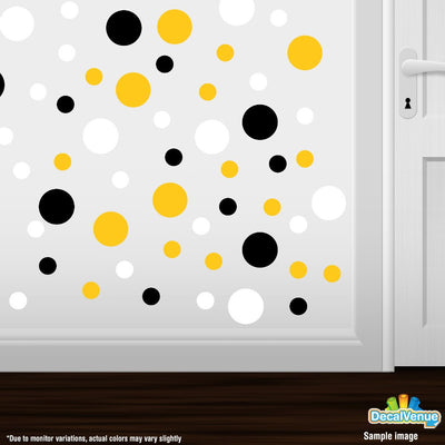 Black / Yellow / White Polka Dot Circles Wall Decals | Polka Dot Circles | DecalVenue.com