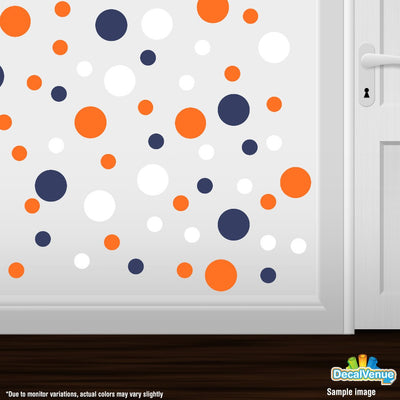 Navy Blue / Orange / White Polka Dot Circles Wall Decals | Polka Dot Circles | DecalVenue.com