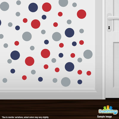 Navy Blue / Red / Metallic Silver Circle Polka Dots Decal Stickers | Decal Venue