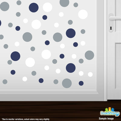 Navy Blue / White / Metallic Silver Circle Polka Dots Decal Stickers | Decal Venue