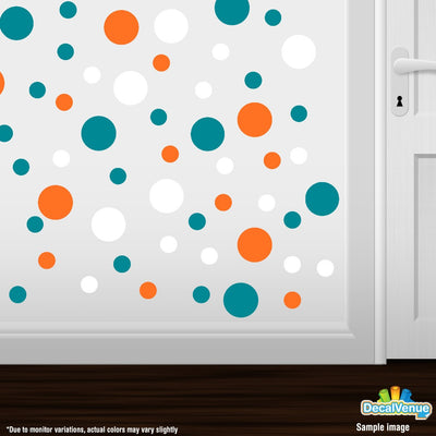 Orange / White / Turquoise Polka Dot Circles Wall Decals | Polka Dot Circles | DecalVenue.com