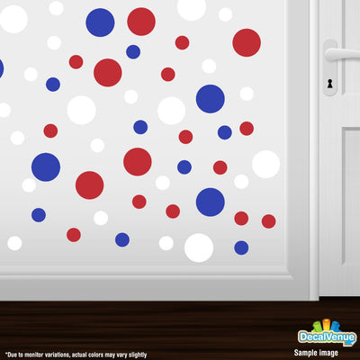 Red / White / Blue Polka Dot Circles Wall Decals | Polka Dot Circles | DecalVenue.com
