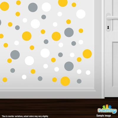 Yellow / Metallic Silver / White Polka Dot Circles Wall Decals | Polka Dot Circles | DecalVenue.com