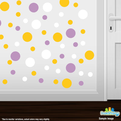 Yellow / White / Lilac Polka Dot Circles Wall Decals-Polka Dot Circles-Decal Venue