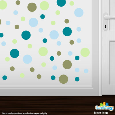 Baby Blue / Baby Green / Turquoise / Olive Green Polka Dot Circles Wall Decals | product_type] | Decal Venue