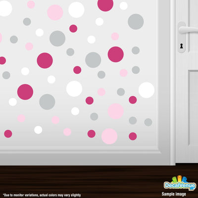 Baby Pink / Hot Pink / Light Grey / White Polka Dot Circles Wall Decals | Polka Dot Circles | DecalVenue.com