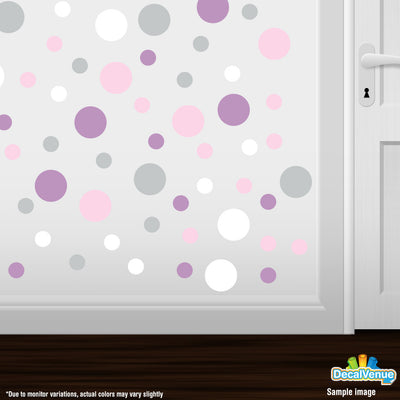 Baby Pink / Light Grey / White / Lilac Polka Dot Circles Wall Decals