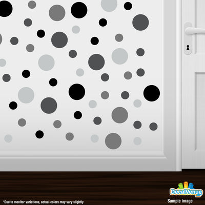 Black / Grey / Dark Grey / Light Grey Polka Dot Circles Wall Decals | Polka Dot Circles | DecalVenue.com