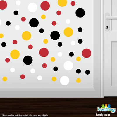 Black / Red / White / Yellow Polka Dot Circles Wall Decals
