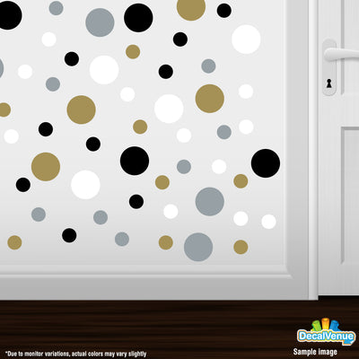 Gold / Silver / Black / White Polka Dot Circles Wall Decals | Polka Dot Circles | DecalVenue.com