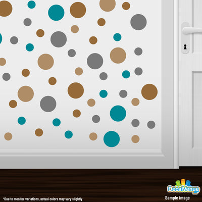 Copper / Turquoise / Grey / Light Brown Polka Dot Circles Wall Decals