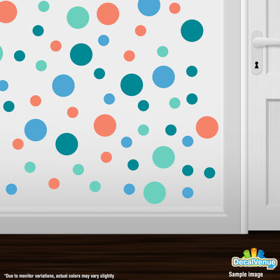Coral / Mint Green / Turquoise / Ice Blue Polka Dot Circles Wall Decals