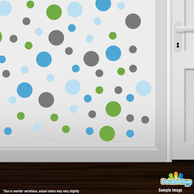 Grey / Baby Blue / Lime Green / Ice Blue Polka Dot Circles Wall Decals | Polka Dot Circles | DecalVenue.com