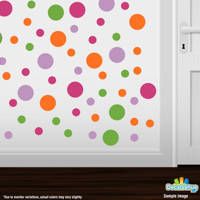 Hot Pink / Lime Green / Orange / Lilac Polka Dot Circles Wall Decals | Polka Dot Circles | DecalVenue.com
