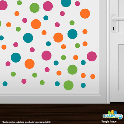 Hot Pink / Lime Green / Orange / Turquoise Polka Dot Circles Wall Decals | Polka Dot Circles | DecalVenue.com