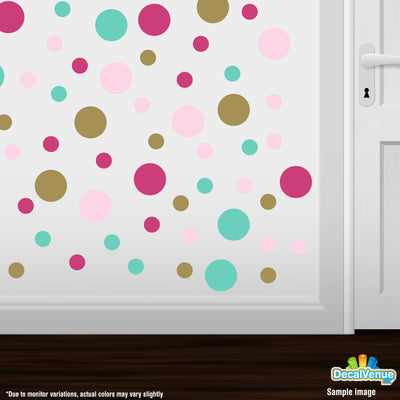 Hot Pink / Mint Green / Baby Pink / Gold Polka Dot Circles Wall Decals | Polka Dot Circles | DecalVenue.com