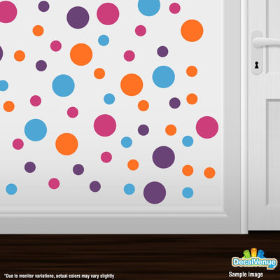 Hot Pink / Purple / Orange / Ice Blue Polka Dot Circles Wall Decals-Polka Dot Circles-Decal Venue