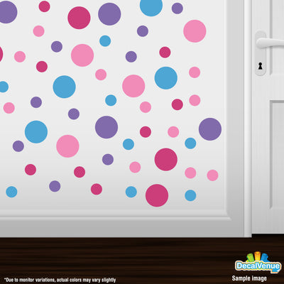 Lavender / Pink / Ice Blue / Hot Pink Polka Dot Circles Wall Decals | Polka Dot Circles | DecalVenue.com