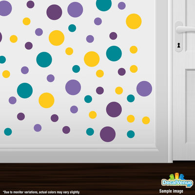 Lavender / Purple / Yellow / Turquoise Polka Dot Circles Wall Decals | Polka Dot Circles | DecalVenue.com