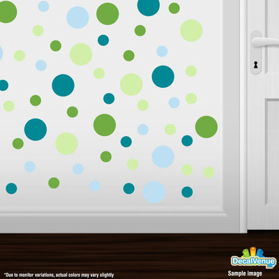 Lime Green / Baby Blue / Turquoise / Baby Green Circle Polka Dots Decal Stickers