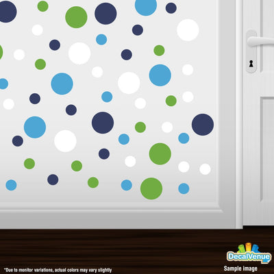 Lime Green / White / Navy Blue / Ice Blue Polka Dot Circles Wall Decals | Polka Dot Circles | DecalVenue.com