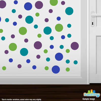 Purple / Blue / Turquoise / Lime Green Polka Dot Circles Wall Decals