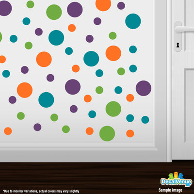 Purple / Lime Green / Turquoise / Orange Polka Dot Circles Wall Decals | Polka Dot Circles | DecalVenue.com