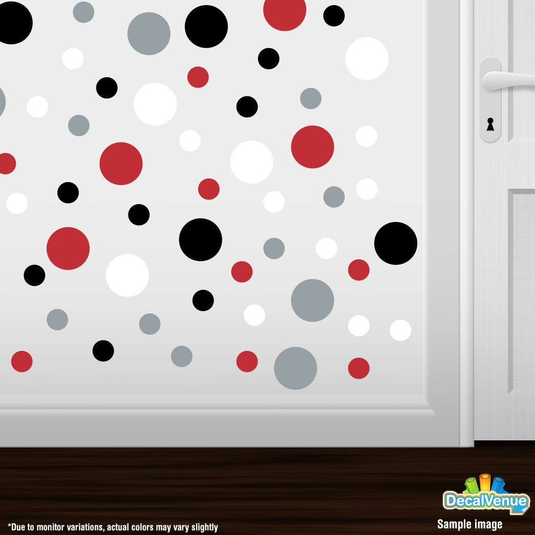 Red / Black / Metallic Silver / White Polka Dot Circles Wall Decals-Polka Dot  sc 1 st  Decal Venue & Red / Black / Metallic Silver / White Polka Dot Circles Wall Decals