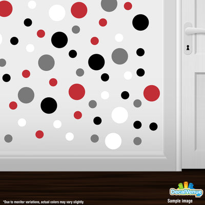 Red / White / Black / Grey Polka Dot Circles Wall Decals | Polka Dot Circles | DecalVenue.com