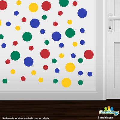Red / Yellow / Blue / Green Polka Dot Circles Wall Decals | Polka Dot Circles | DecalVenue.com