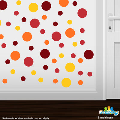 Red / Burgundy / Yellow / Orange Polka Dot Circles Wall Decals