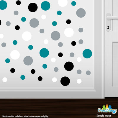 Turquoise / Black / Silver / White Polka Dot Circles Wall Decals-Polka Dot Circles-Decal Venue