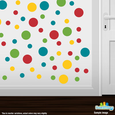 Turquoise / Yellow / Red / Lime Green Polka Dot Circles Wall Decals | Polka Dot Circles | DecalVenue.com