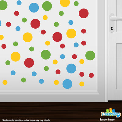 Yellow / Lime Green / Ice Blue / Red Polka Dot Circles Wall Decals