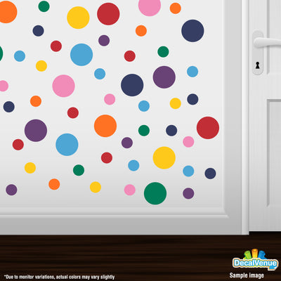 Rainbow 8 Color Mix Polka Dot Circles Wall Decals | Polka Dot Circles | DecalVenue.com