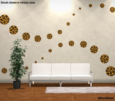 Leopard Print Circle Polka Dot Decals - Polka Dot Circles at Decal Venue