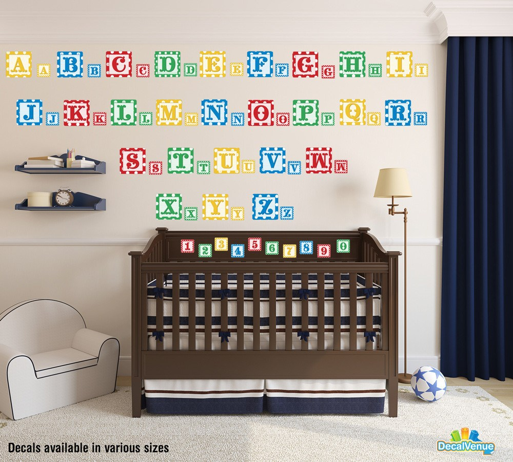 Baby Blocks Alphabet and Numbers Reusable Wall Decals-Letters u0026 Numbers- Decal Venue  sc 1 st  Decal Venue & Baby Blocks Alphabet and Numbers Reusable Wall Decals | Decal Venue
