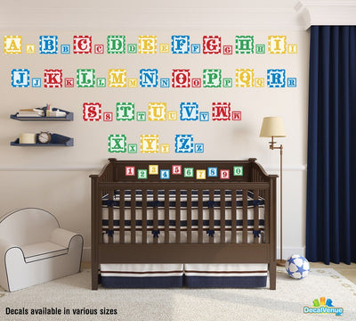 Baby Blocks Alphabet and Numbers Reusable Wall Decals | Letters & Numbers | DecalVenue.com