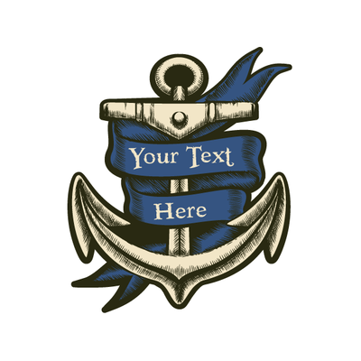 Personalized Anchor Blue Ribbon Decal [001] | Custom / Personalized | DecalVenue.com