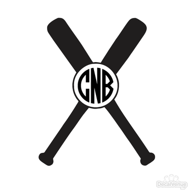 Baseball Bat Monogram Initials Decal | Custom / Personalized | DecalVenue.com