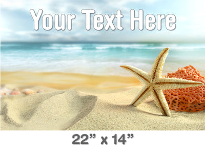 Personalized Bath Mat Decal - Starfish on Beach