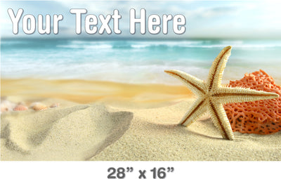 Personalized Bath Mat Decal - Starfish on Beach | Bathtub Decal | DecalVenue.com