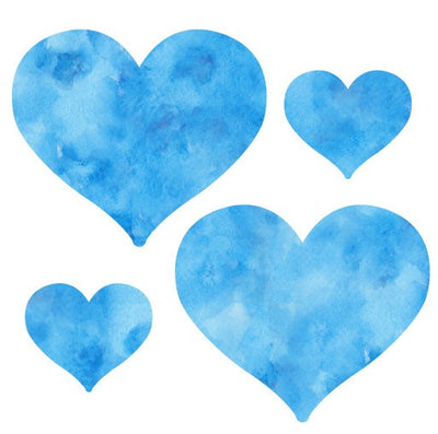 Watercolor Blue Heart Decals-Shapes & Patterns-Decal Venue