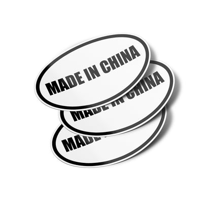 Made In China Oval Vinyl Bumper Stickers (3 Pack)