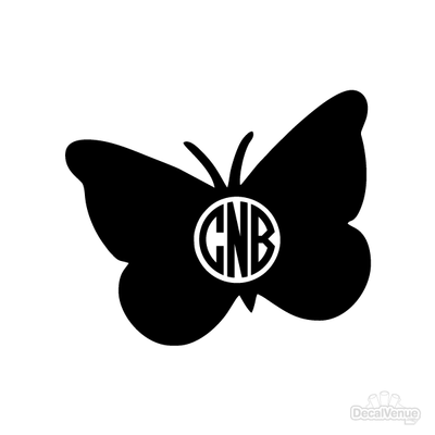 Butterfly Monogram Initials Decal