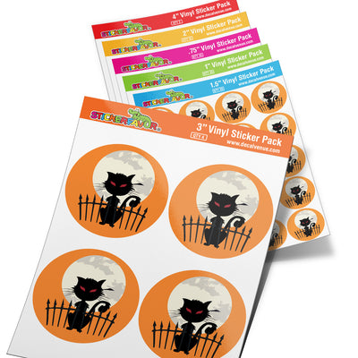 StickerFavor® Cat Halloween 001 Vinyl Decal Sticker Favors (Qty 103 - assorted sizes) | StickerFavor® | DecalVenue.com