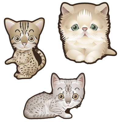 Cute Cats Set of 3 Decals [003]-Animals-Decal Venue