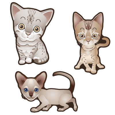 Cute Cats Set of 3 Decals [004]-Animals-Decal Venue