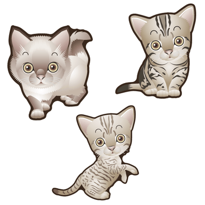 Cute Cats Set of 3 Decals [005] | Animals | DecalVenue.com