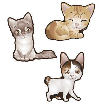Cute Cats Set of 3 Decals [011] | Animals | DecalVenue.com